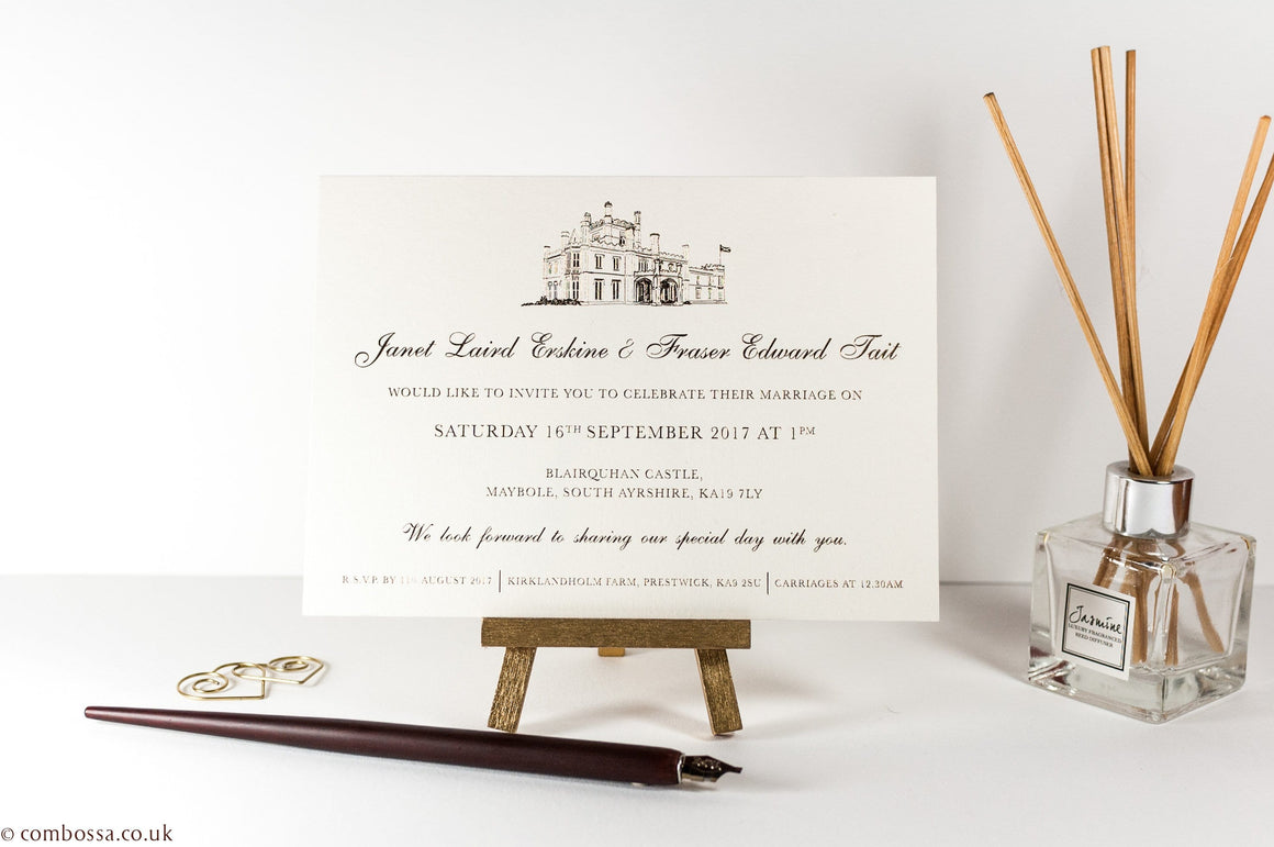 Embossed Wedding Invitation, Blairquhan Castle, Sample