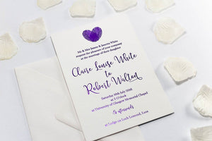 Embossed Wedding Invitation, Finger Print Heart NEW