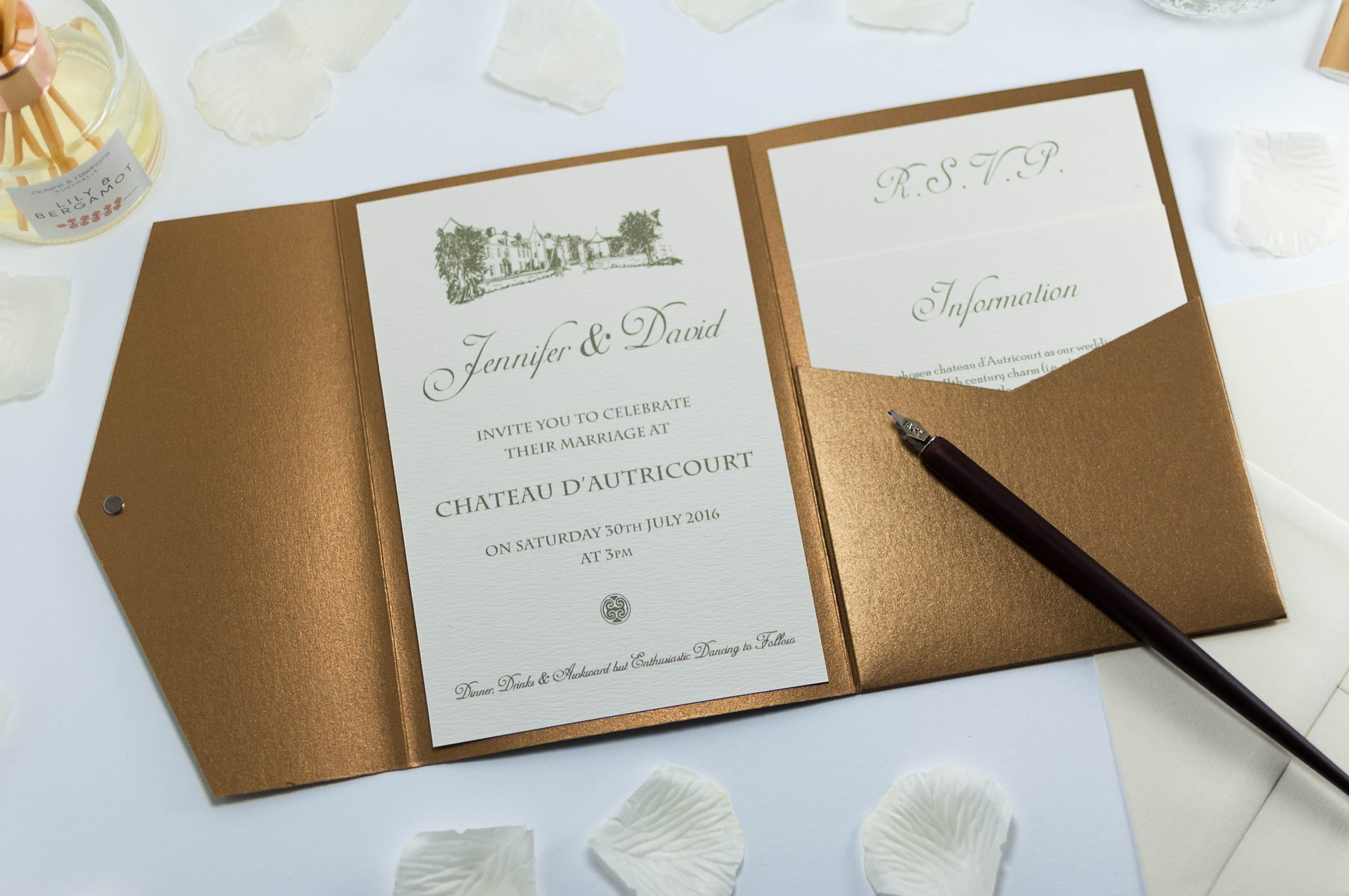 Vintage chateau wedding invitation in antique gold for Luxury wedding invitations dubai