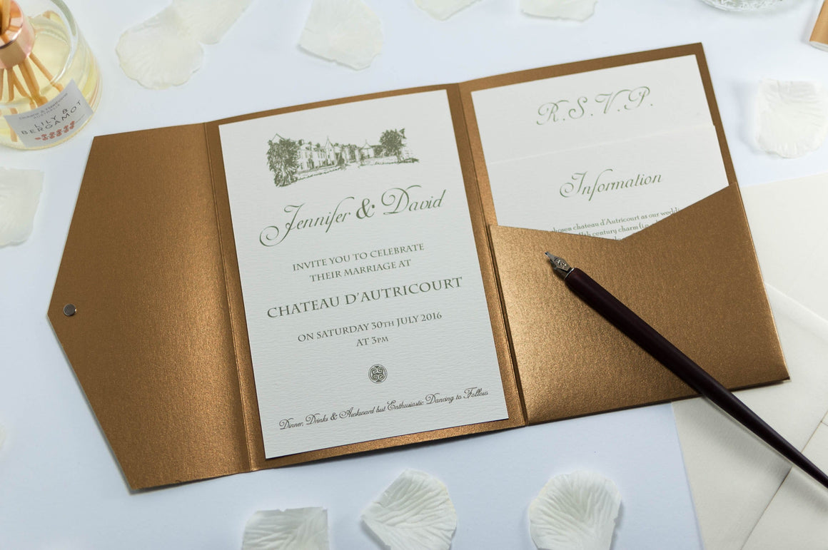 luxuryweddinginvitationsbycombossa Pocketfold Wedding Invitation Vintage Chateau Wedding Invitation in Antique Gold Pocketfold