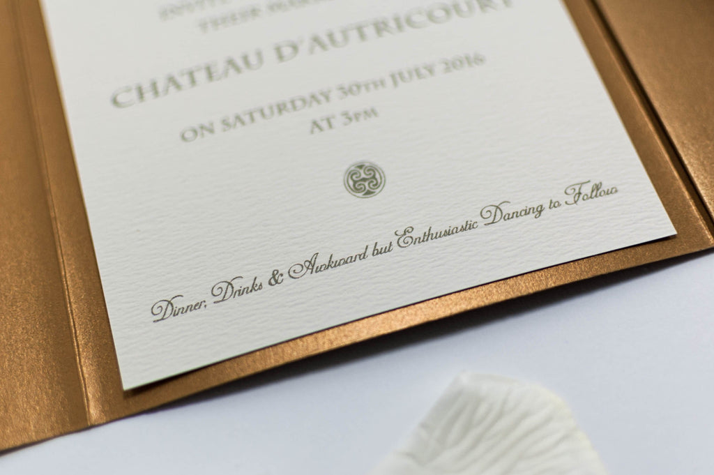 Vintage Chateau Wedding Invitation in Antique Gold Pocketfold
