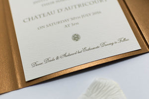 Vintage Chateau Wedding Invitation in Antique Gold Pocketfold - Luxury Wedding Invitations