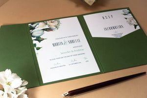 Modern Botanical Pocketfold Wallet Wedding Invitation