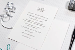 Classic Monogram Wedding Invitation, HD Digital Print