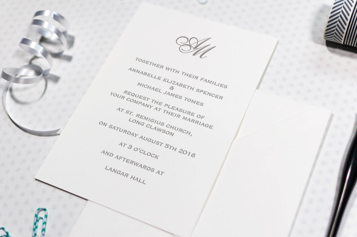 Classic Monogram Wedding Invitation, HD Digital Print Sample