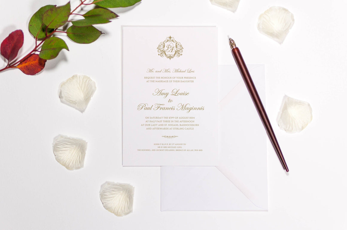 Rococo Monogram Wedding Invitation, HD Digital Print