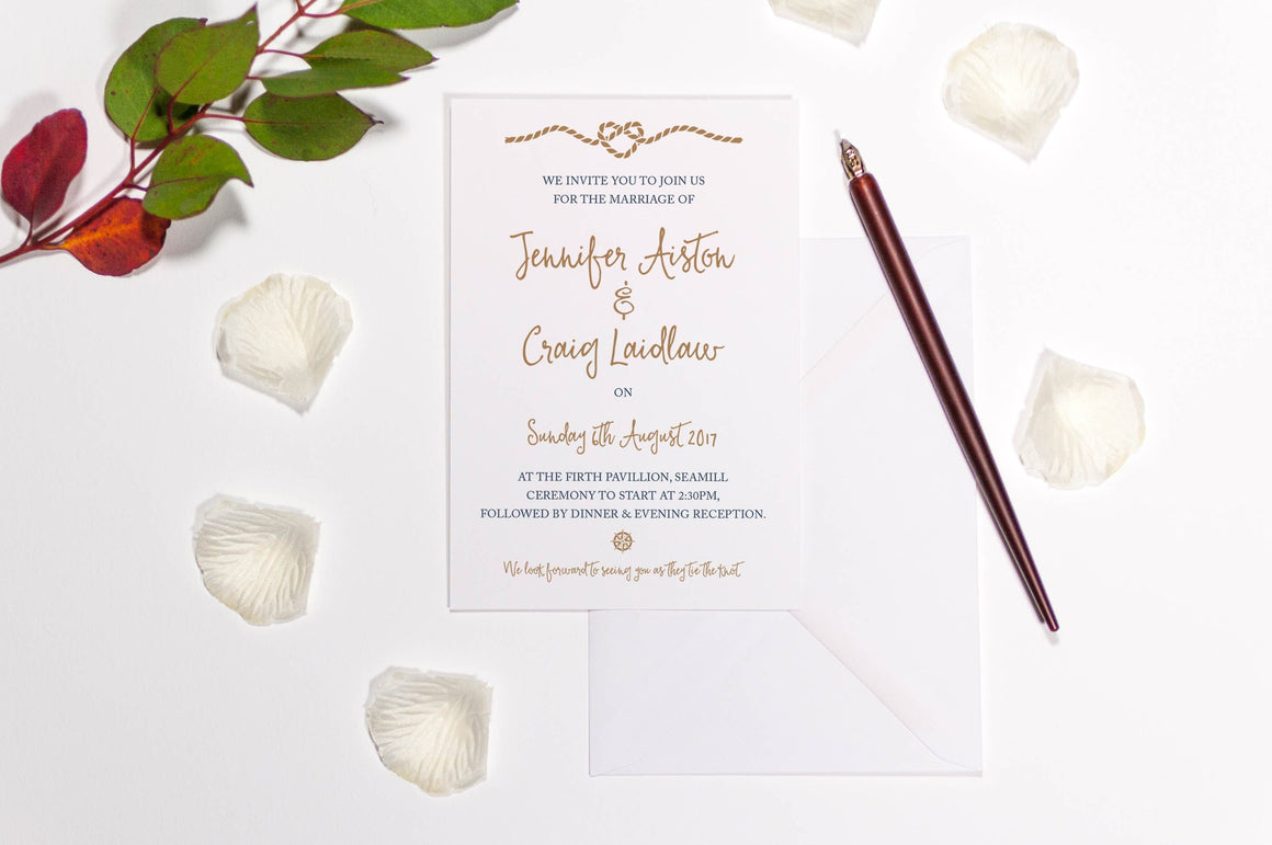 Nautical Rope Heart Wedding Invitation, HD Digital Print