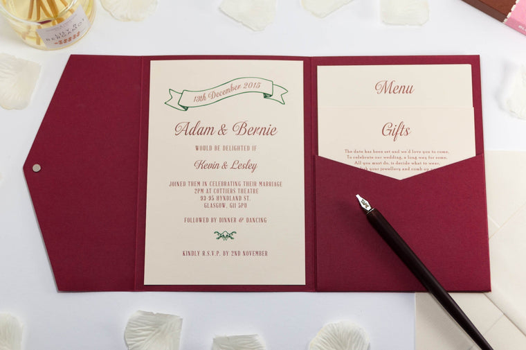 Vintage Wedding Invitation in Deep Red Pocketfold
