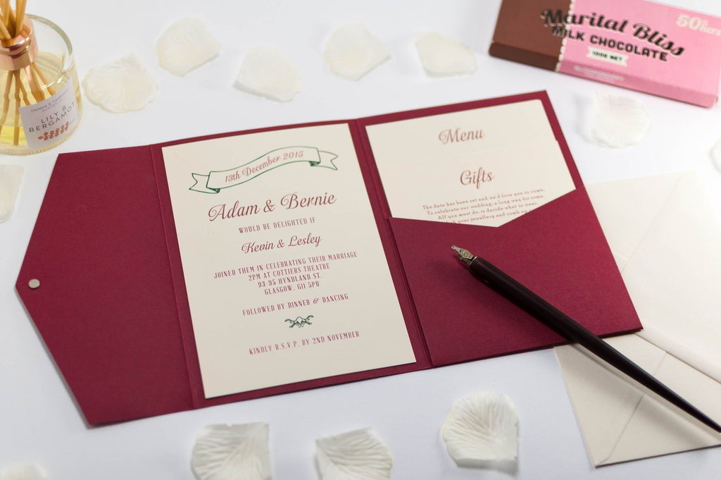 Vintage Wedding Invitation in Deep Red Pocketfold - Luxury Wedding Invitations