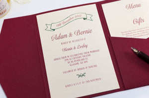 luxuryweddinginvitationsbycombossa Pocketfold Wedding Invitation Vintage Wedding Invitation in Deep Red Pocketfold
