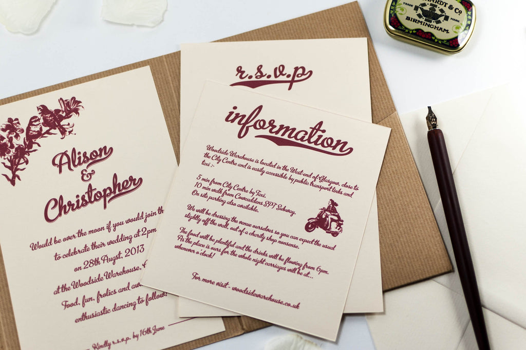 Vintage Wedding Invitation in Kraft Pocketfold