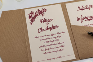 luxuryweddinginvitationsbycombossa Pocketfold Wedding Invitation Metroscript, 1950's Vintage Wedding Invitation in Kraft Pocketfold