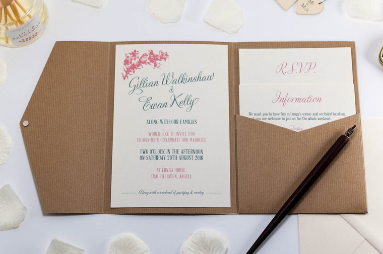 Vintage Birds Wedding Invitation in Kraft Pocketfold