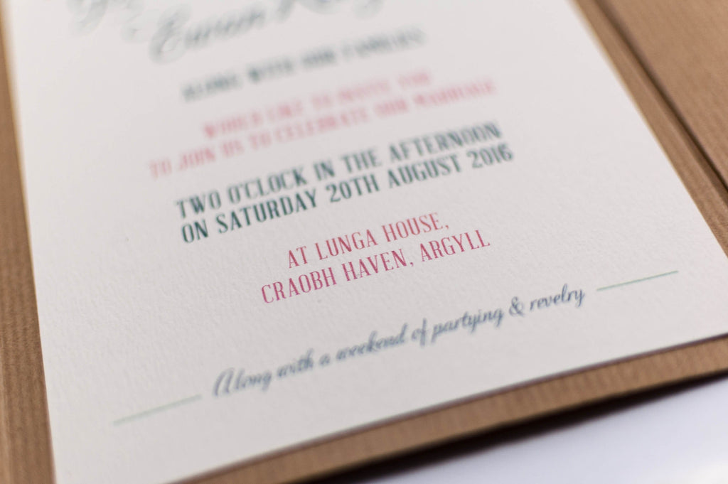 Vintage Birds Wedding Invitation in Kraft Pocketfold - Luxury Wedding Invitations