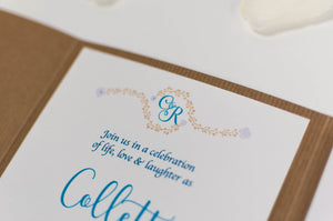 Vintage Monogram Wedding Invitation in Kraft Card Pocketfold Wallet