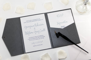Calligraphy Wedding Invitation in Platinum Grey Pocketfold - Luxury Wedding Invitations