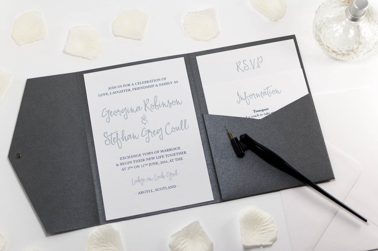 Calligraphy Wedding Invitation in Platinum Grey Pocketfold