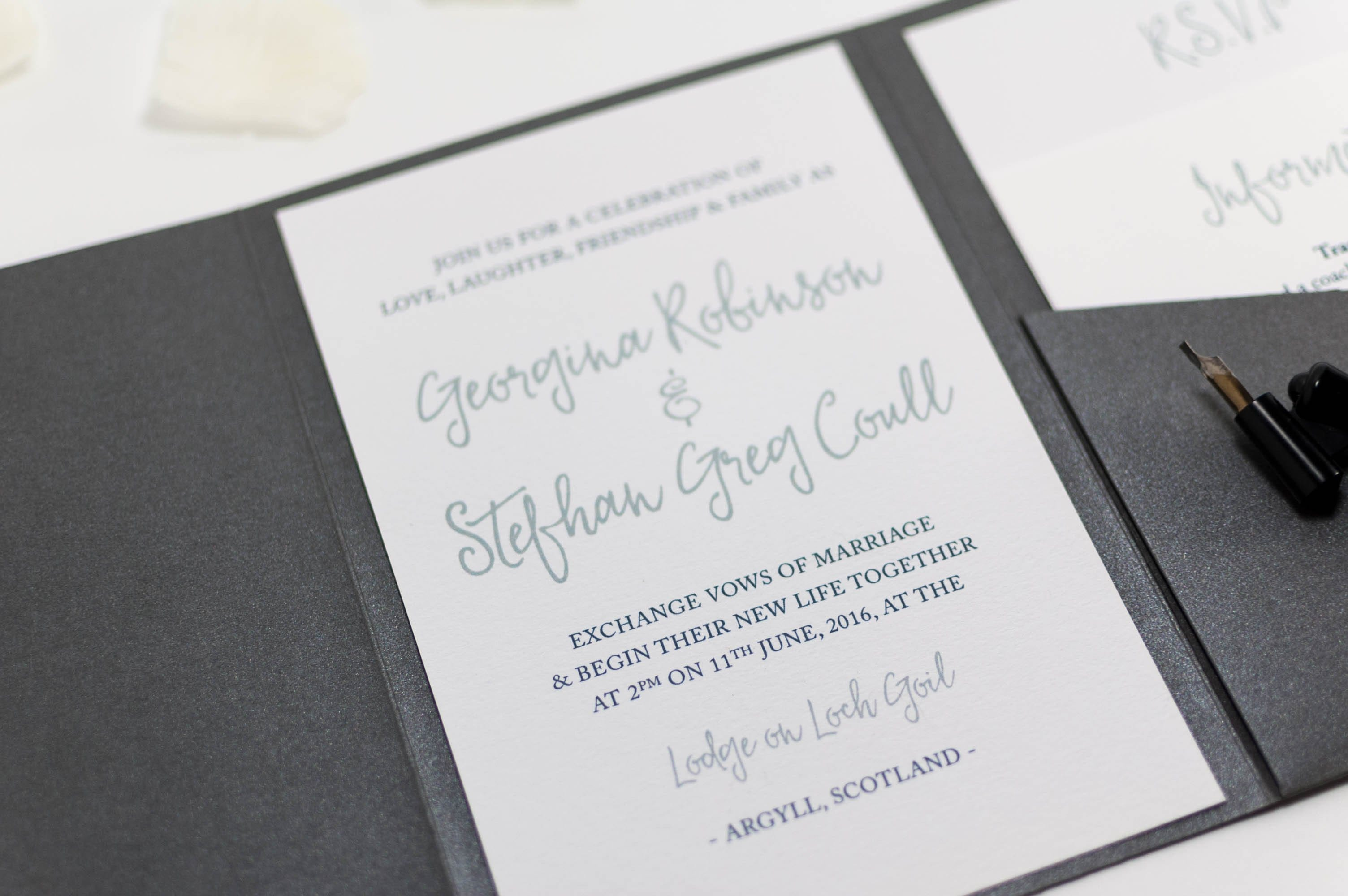 Calligraphy Wedding Invitation in Platinum Grey Pocketfold Com – Wedding Invitations Calligraphy