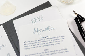 luxuryweddinginvitationsbycombossa Pocketfold Wedding Invitation Calligraphy Wedding Invitation in Platinum Grey Pocketfold