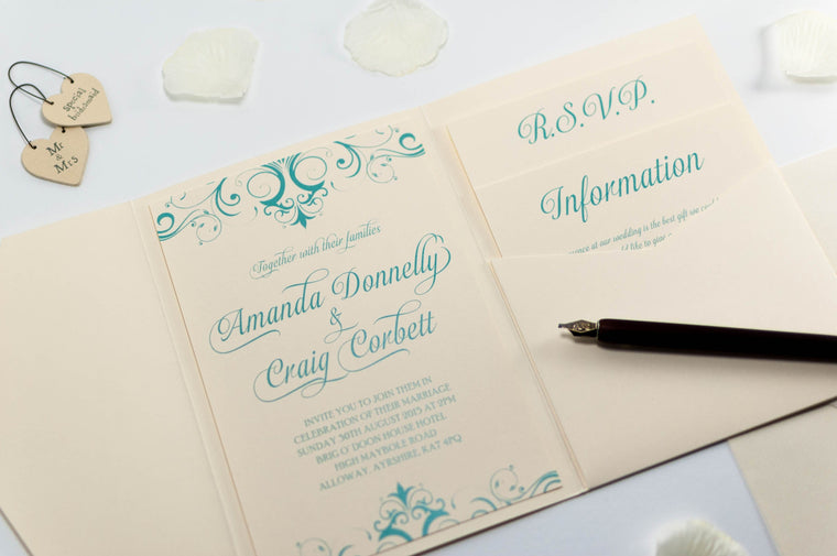 Tiffany Blue Wedding Invitation in Ivory Pocketfold
