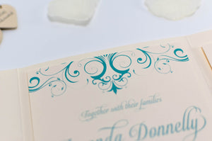 luxuryweddinginvitationsbycombossa Pocketfold Wedding Invitation Tiffany Blue Wedding Invitation in Ivory Pocketfold