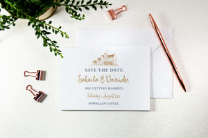 Rowallan Castle, Calligraphy Wedding Save the Date Card
