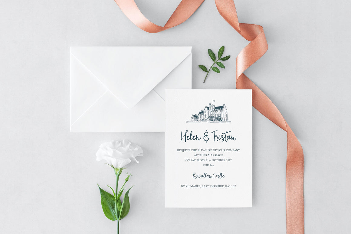 Rowallan Castle Wedding Invitation, HD Digital Print