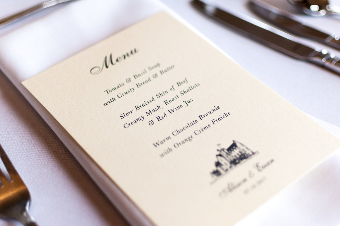 luxuryweddinginvitationsbycombossa HD Printed Wedding Invitations Rowallan Castle, Wedding Menu