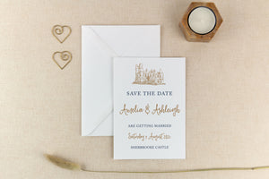 Sherbrooke Castle, Calligraphy Wedding Save the Date Card