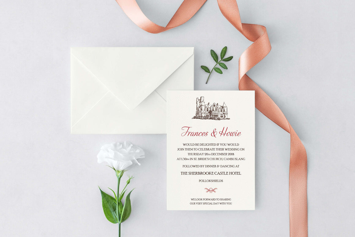 Sherbrooke Castle Hotel Wedding Invitation, HD Digital Print