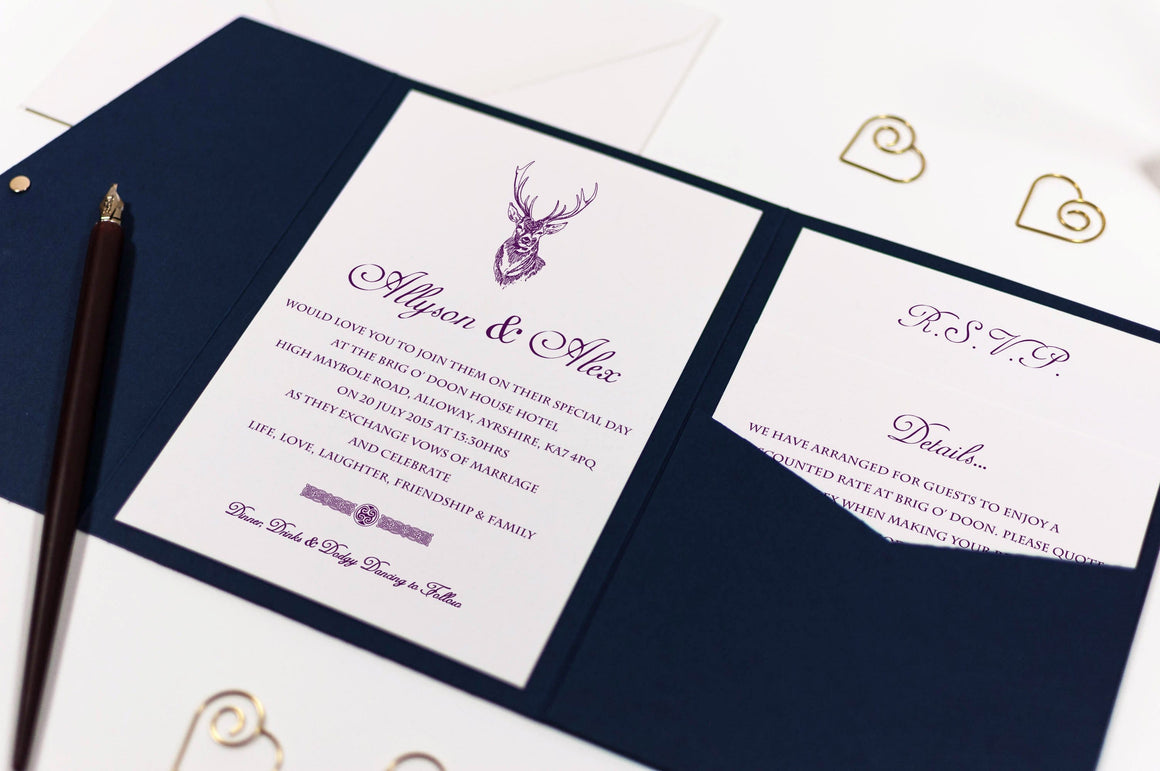 Stag Wedding Invitation in Navy Blue Pocketfold