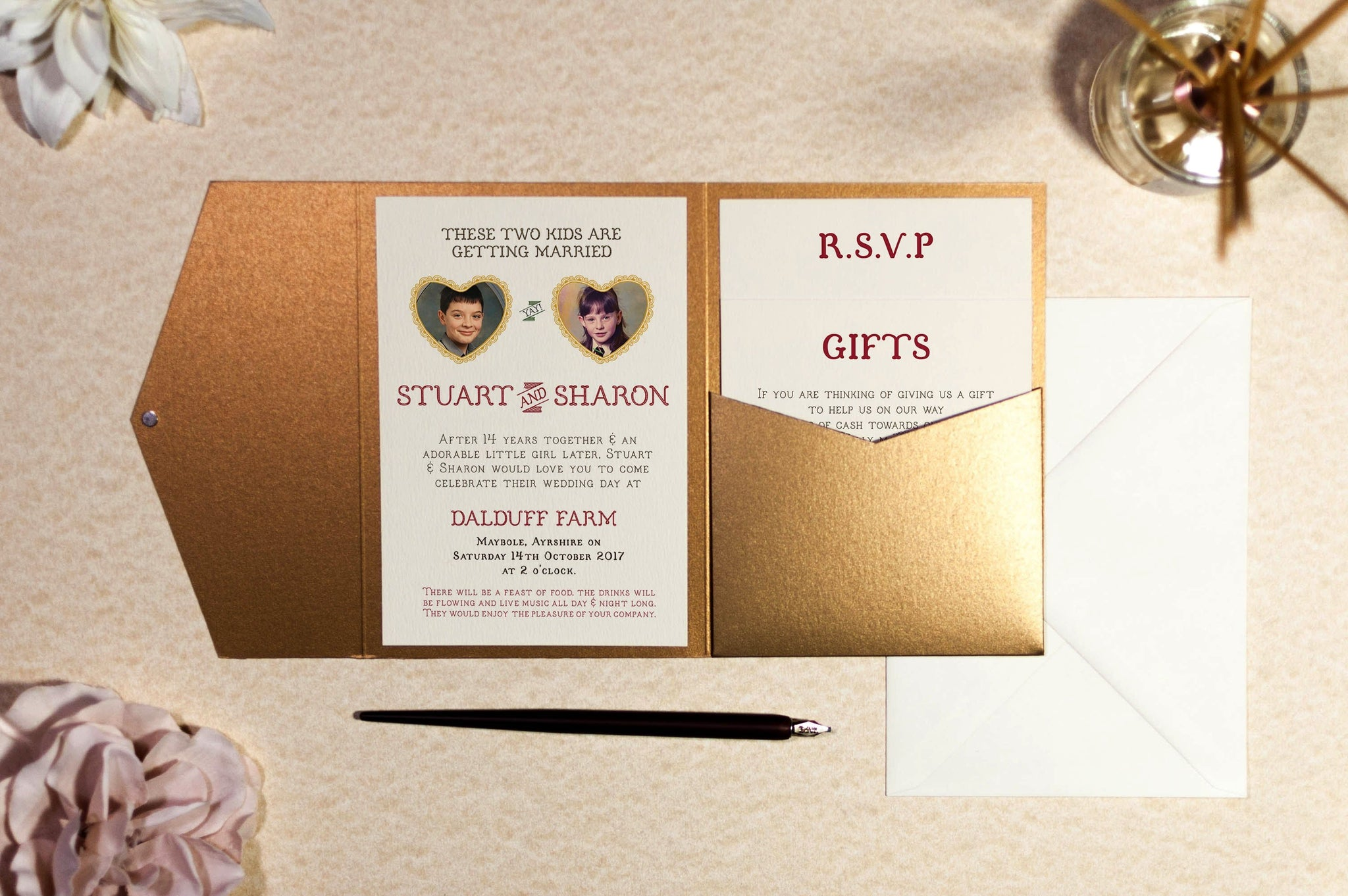 two kids wedding invitation in antique gold pocketfold wallet com