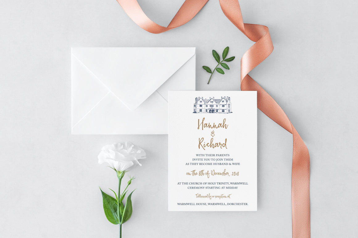 Warmwell House Wedding Invitation, HD Digital Print