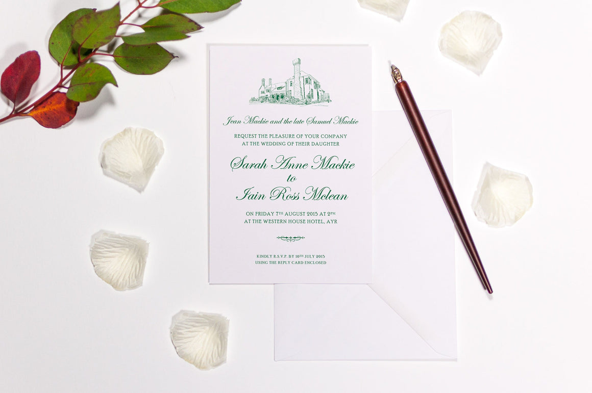 Western House Wedding Invitation, HD Digital Print