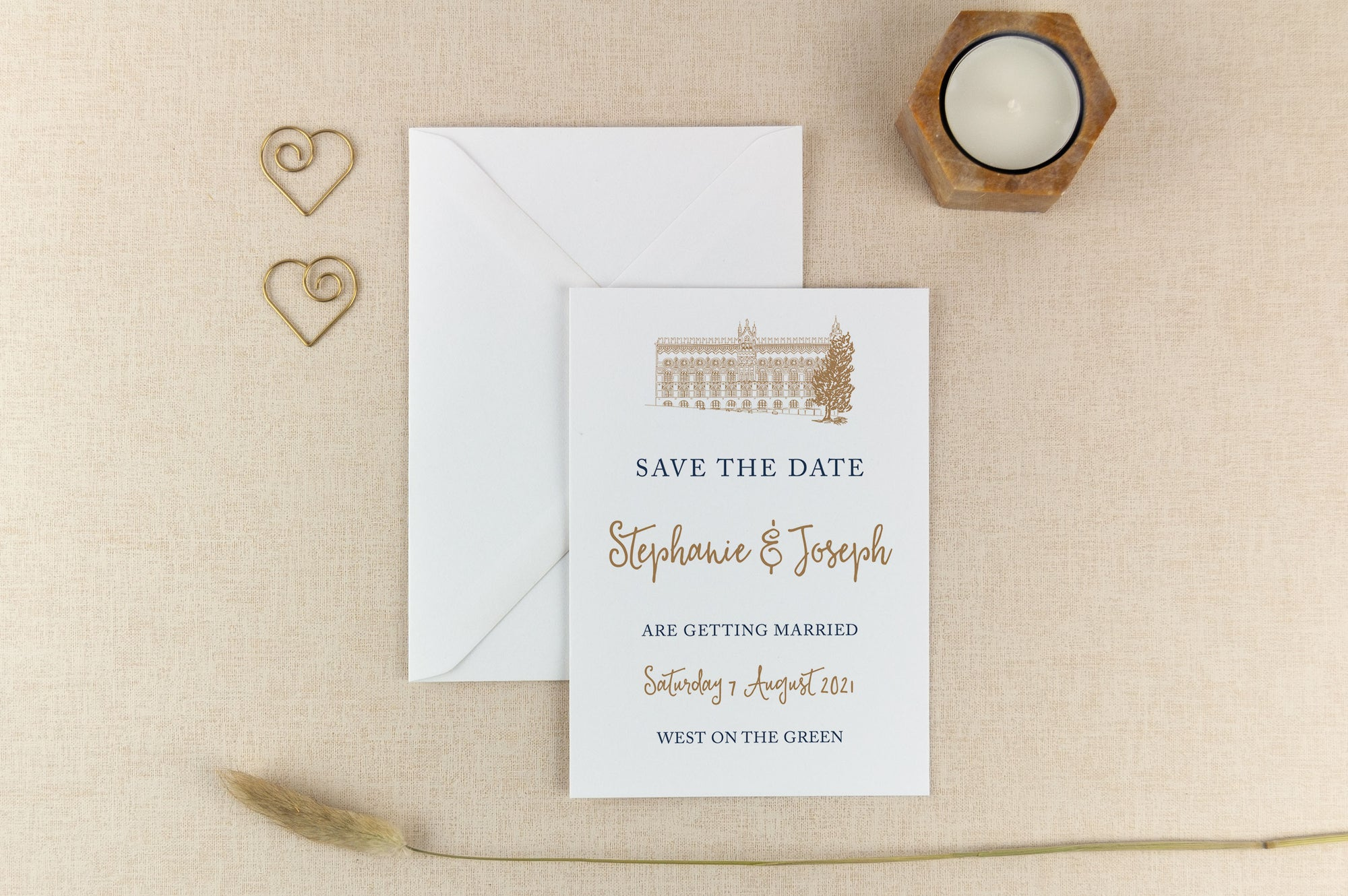 West on the Green, Calligraphy Wedding Save the Date Card