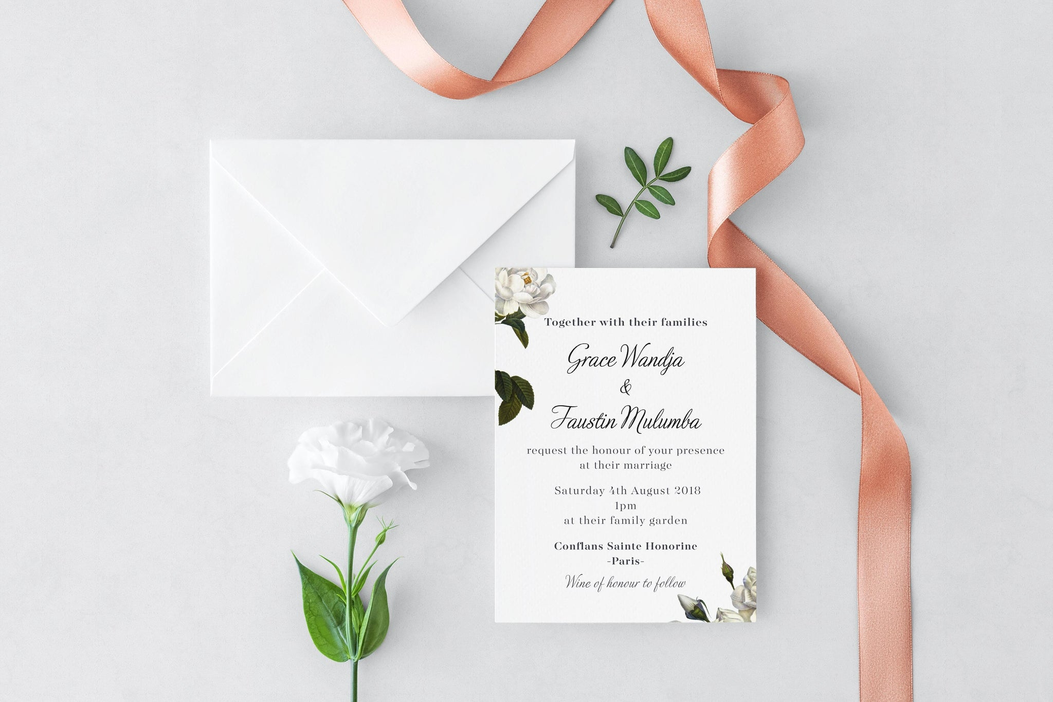Printed Wedding Invitations: White Rose Wedding Invitation, HD Digital Print