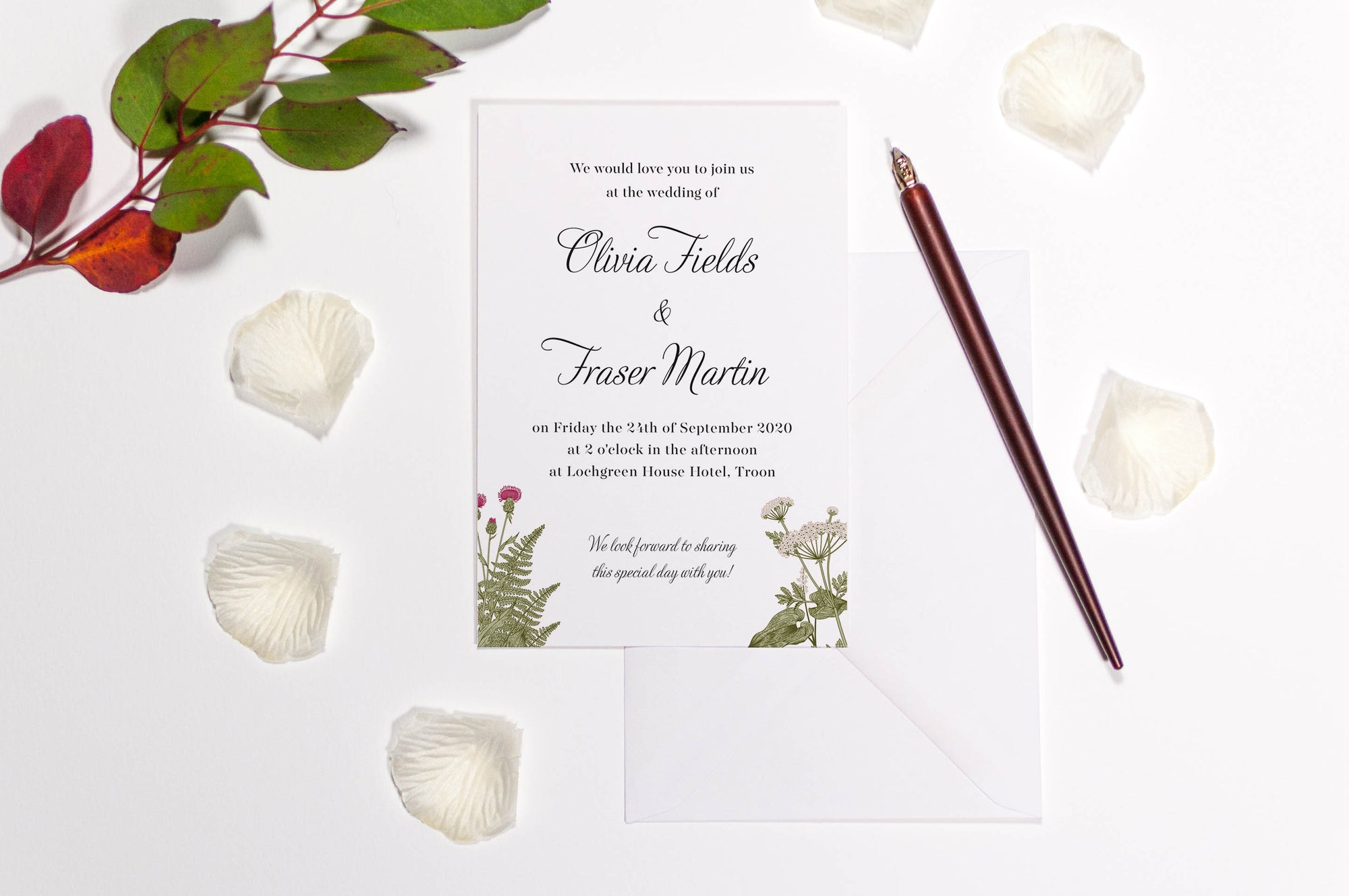 Copy of Wild Fern Botanical Wedding Invitation, Sample
