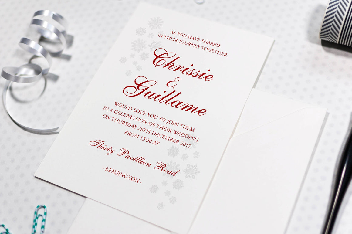 Winter Wedding Invitation, Snowflakes (HD Digital Print)