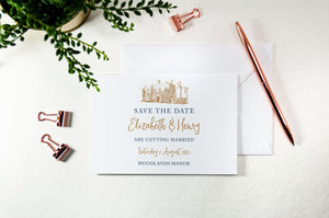 Woodlands Manor, Calligraphy Wedding Save the Date Card