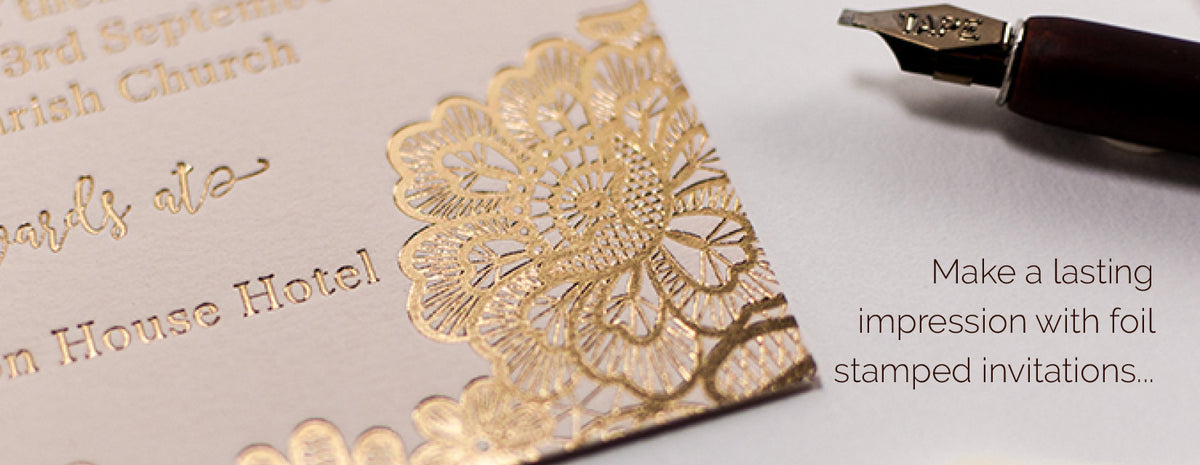 Luxury wedding invitations gold foil