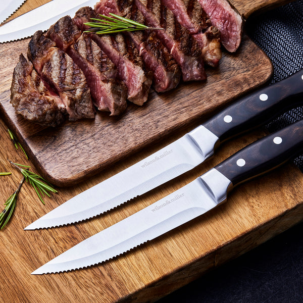 Wilson & Miller Solid Steak Knives Set of 4 - 5.5'' Serrated Stainless Steel Blade Pakkawood Handle