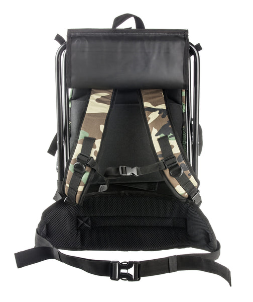 Army Backpack with Steel Frame Stool, Woodland Camo
