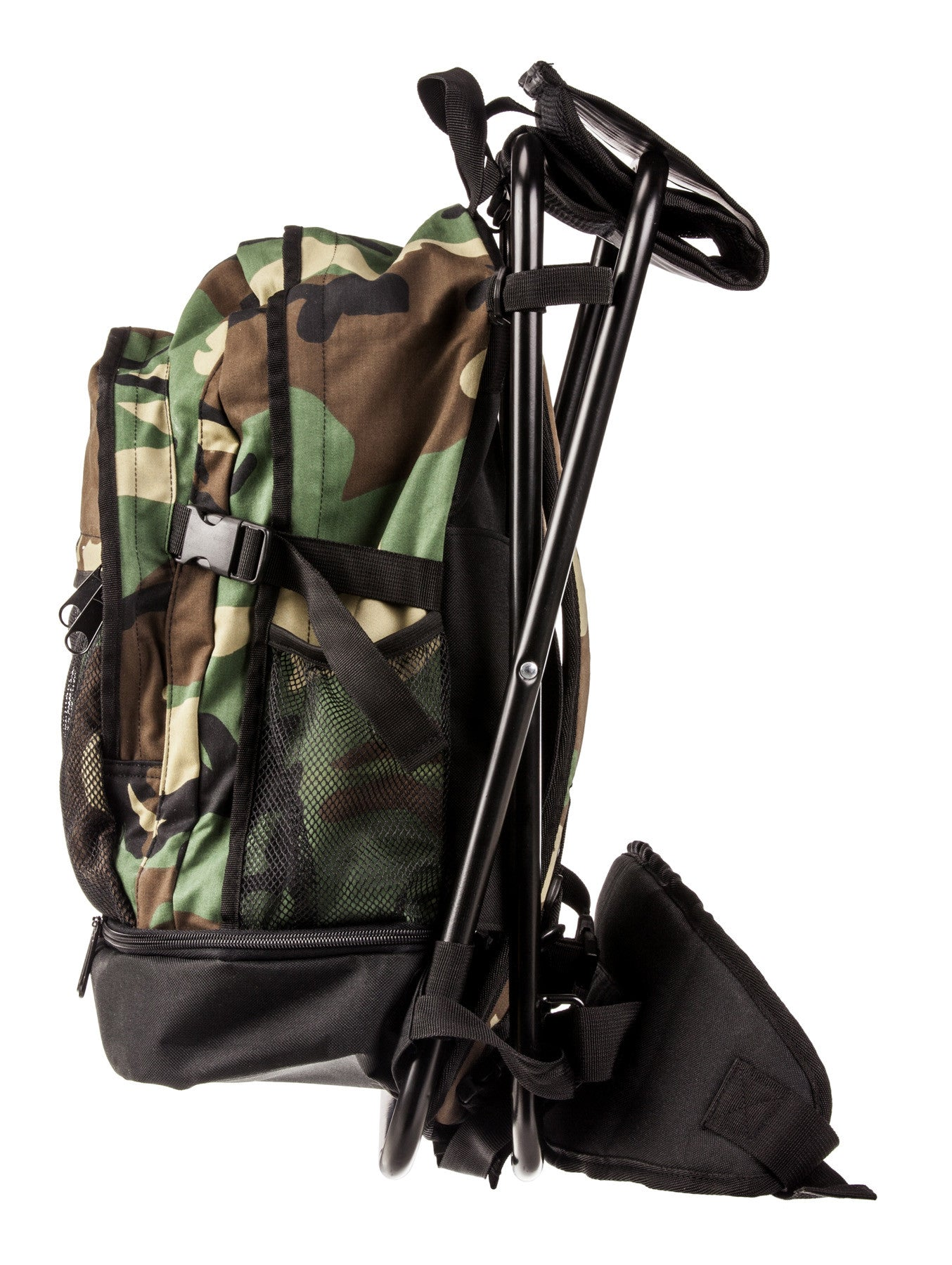 Army Backpack with Steel Frame Stool, Woodland Camo - Wilson
