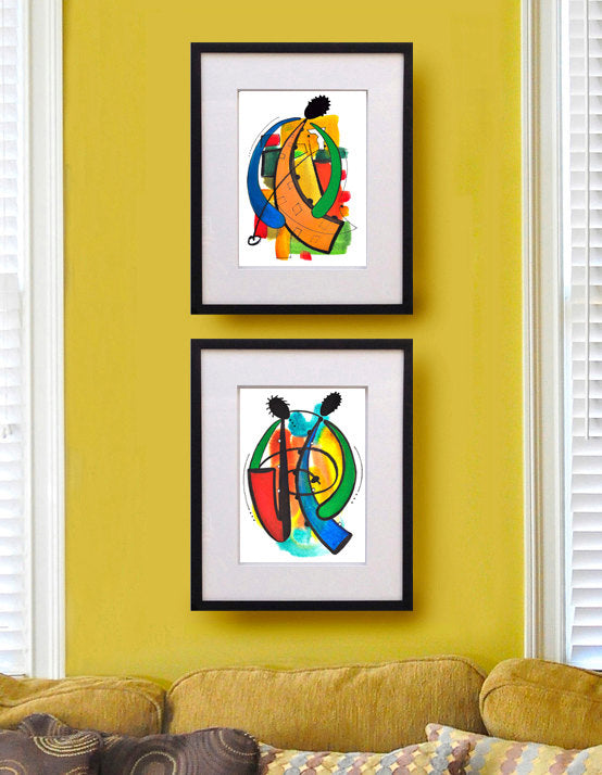 The Yellow Horn Watercolor Painting, Jazz Musical Instrument ...