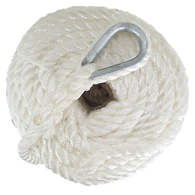 Boat Nylon 3 Braid Anchor Rope Line 60mts (200ft) 12mm c/w spliced HDG thimble