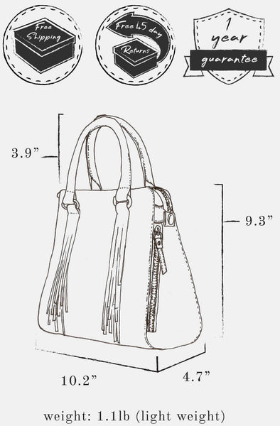 "Sketch of bag indicating: dimensions, height 9.3"" x  length 10.2"" x width 4.7"" ; handle height, 3.9"" ; weight 1.1 lb ; and free shipping, free 45 day returns, and a 1 year guarantee"