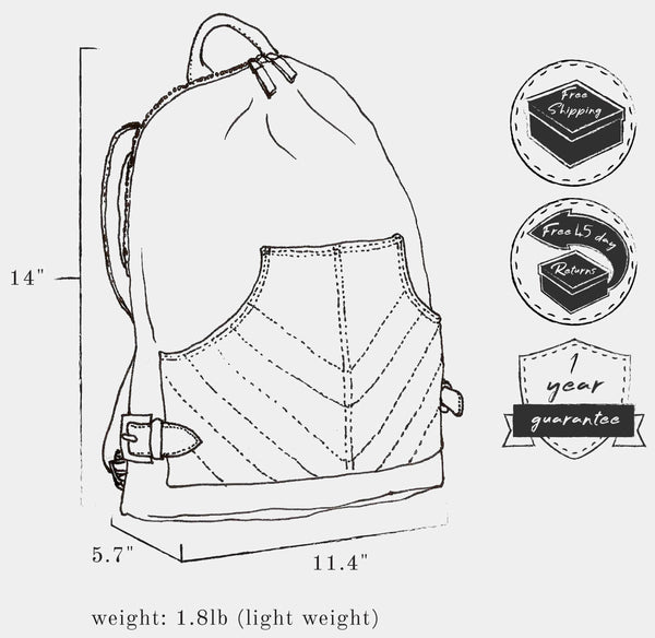 "Sketch of bag indicating: dimensions, height 14"" x  length 11.4"" x width 5.7"" ; weight 1.8 lb ; and free shipping, free 45 day returns, and a 1 year guarantee"