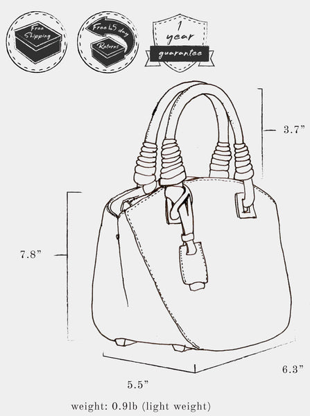 "Sketch of bag indicating: dimensions, height 7.8"" x  length 6.3"" x width 5.5"" ; weight 0.9 lb ; strap length 3.7"" ; and free shipping, free 45 day returns, and a 1 year guarantee"