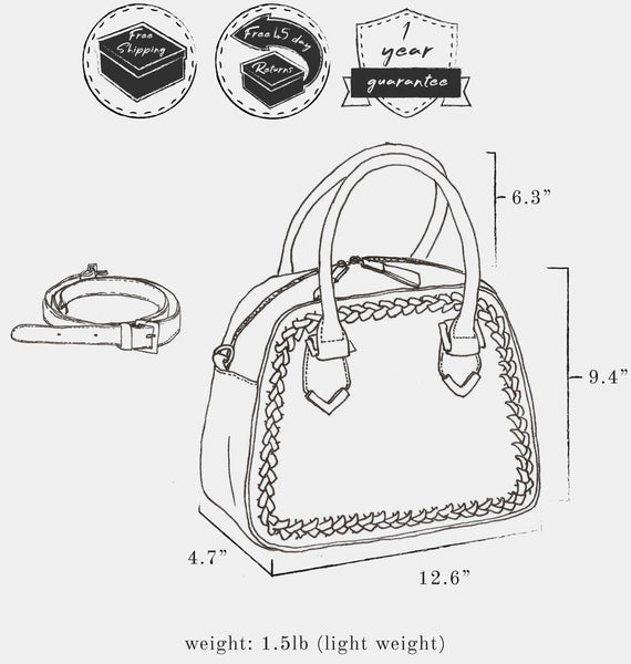 "Sketch of bag indicating: dimensions, height 9.4"" x  length 12.6"" x width 4.7"" ; weight 1.5 lb ; strap length 6.3"" ; and free shipping, free 45 day returns, and a 1 year guarantee"