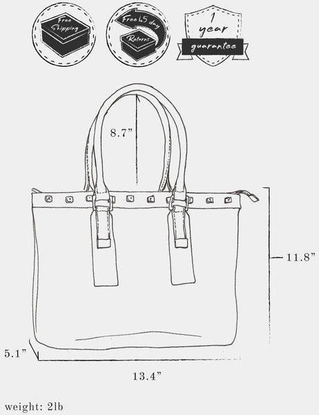"Sketch of bag indicating: dimensions, height 11.8"" x  length 13.4"" x width 5.1"" ; weight 2 lb ; strap length 8.7"" ; and free shipping, free 45 day returns, and a 1 year guarantee"